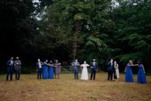 wedding party socially distanced group photo