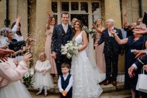 confetti shot at Saltmarshe Hall micro wedding